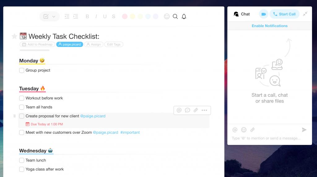 Taskade weekly checklist