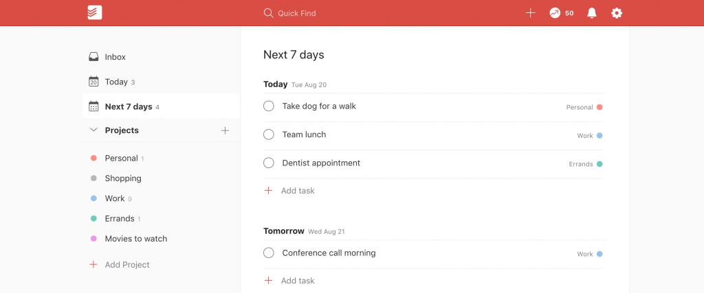 Todoist daily tasks