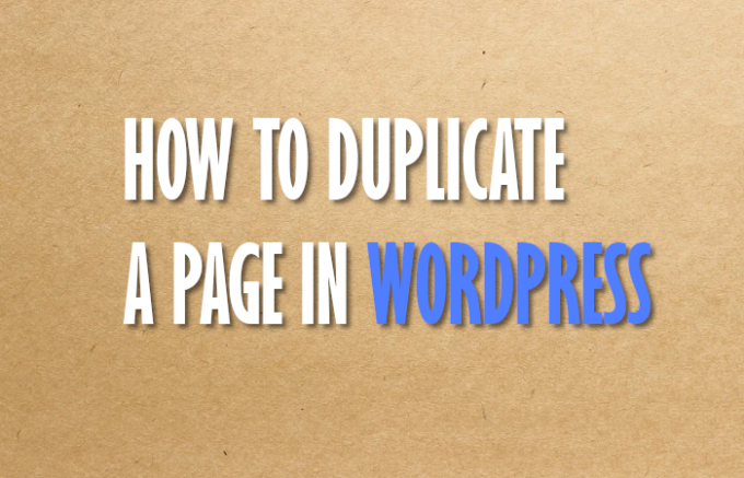 duplicate a page in wordpress