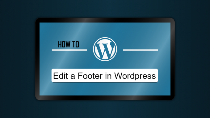 "The wordpress logo and a search bar, with the words ""edit a footer in wordpress"" in the search bar"
