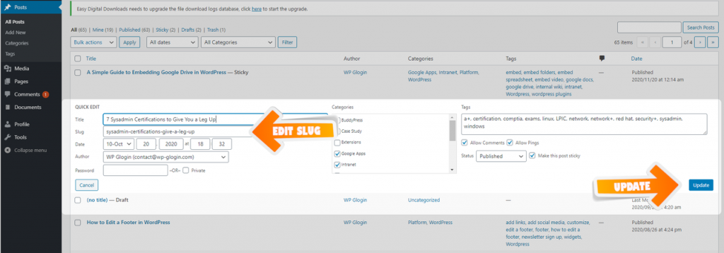 Quick Edit Slug WordPress tutorial