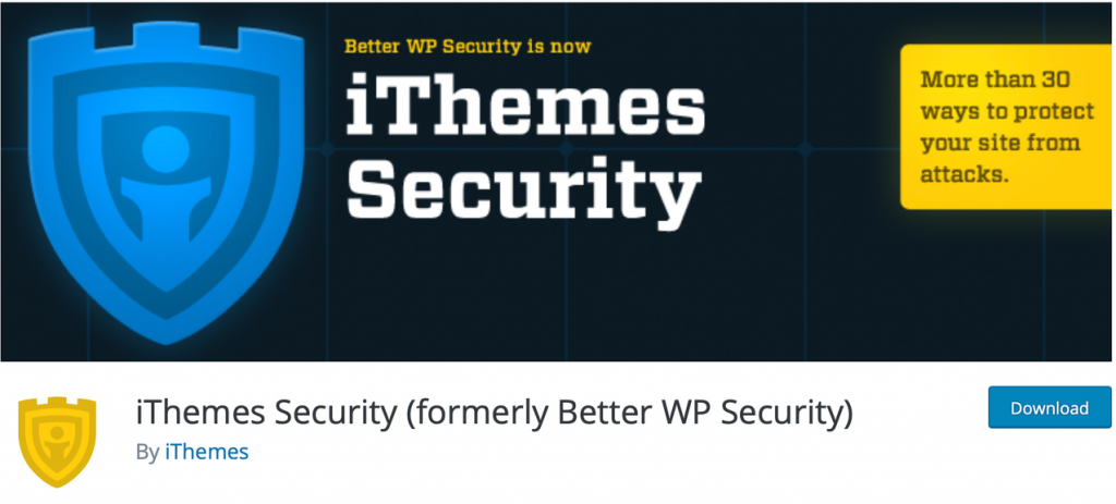 "Banner for iThemes Security, with the promise of ""30 ways to protect your site from attacks"""
