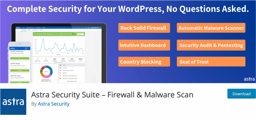 "The banner for the ""Astra Security Suite"" plugin,"