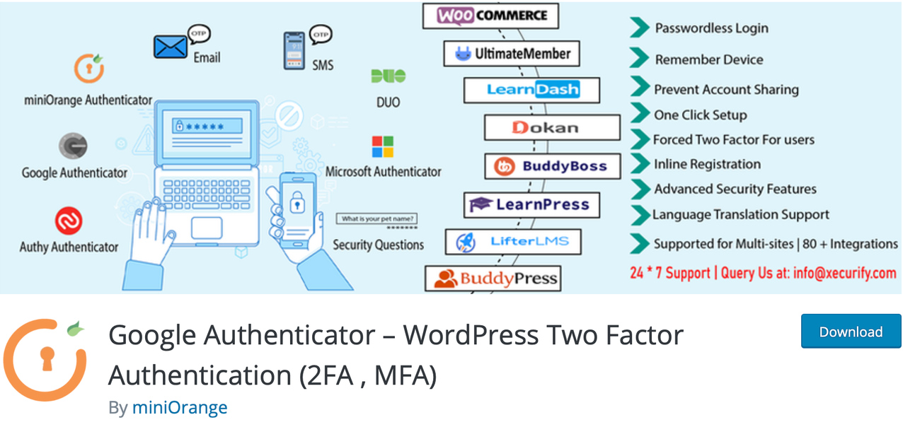 "The cartoon banner for ""Google Authenticator - WordPress Two Factor Authentication"" app"