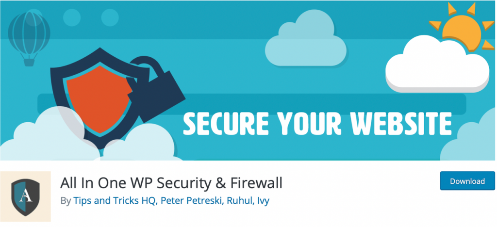 "Banner for All in One WP Security & FireWall, with the phrase ""Secure Your Website"" on top"