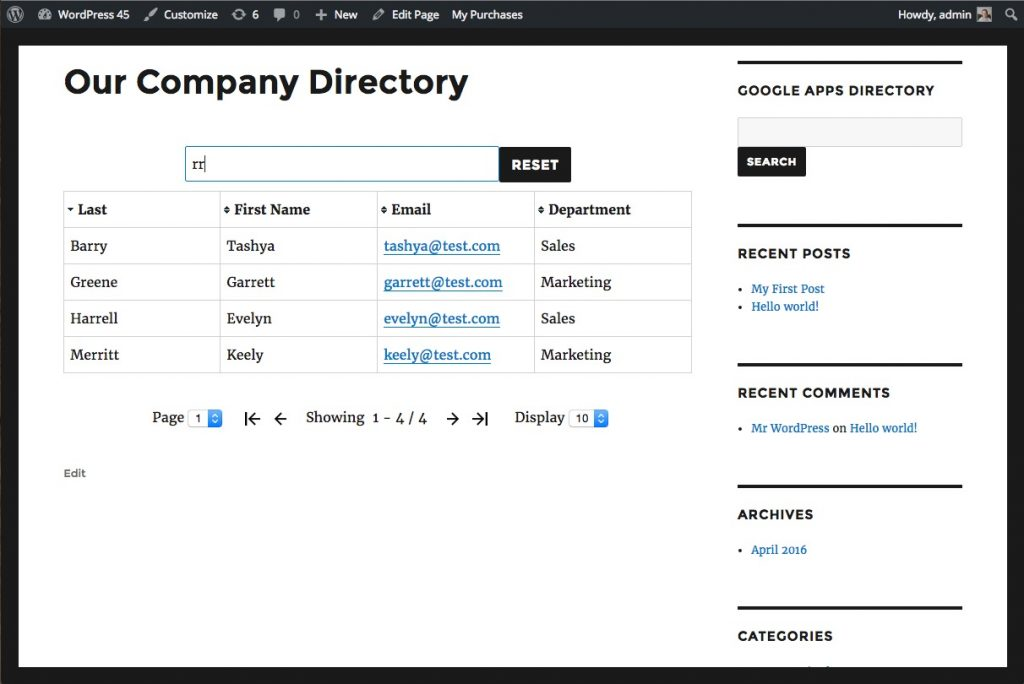 Google Apps Directory for WordPress