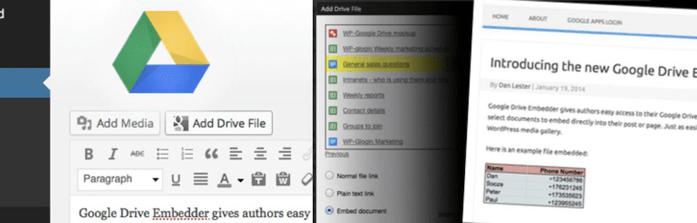 The Google Drive Embedder plugin.