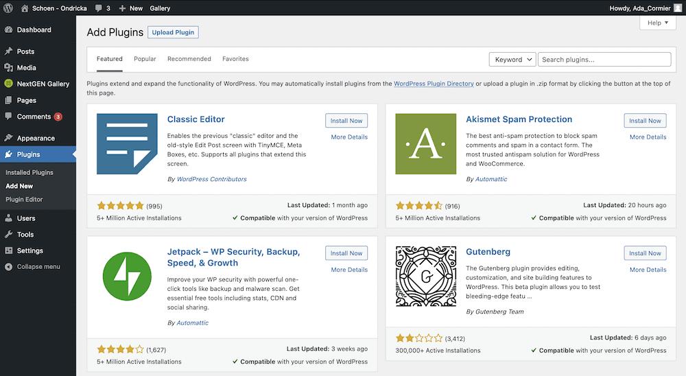 The WordPress Add Plugins screen.