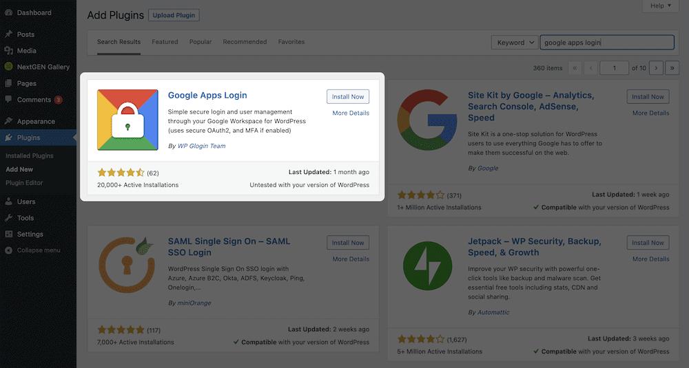 The Google Apps Login plugin install screen.