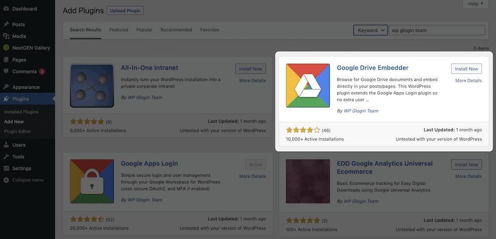 The Google Drive Embedder install screen.