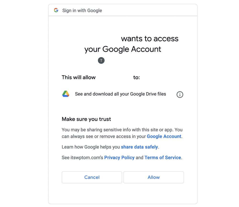 Google's authentication screen.