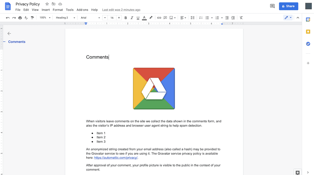 A Google Doc that includes an image.