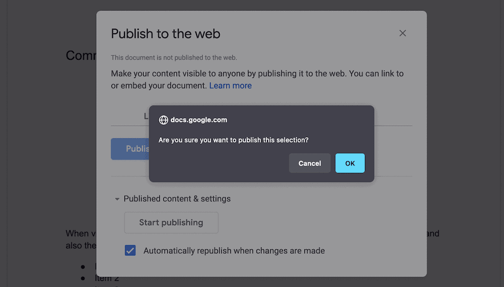 The Publish to the web dialog.